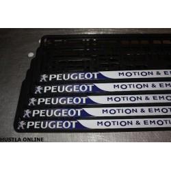 ramki z nadrukiem Peugeot - motion & emotion biało-granatowe tło
