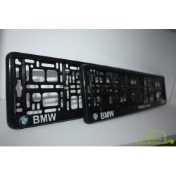 2 ramki z nadrukiem ``BMW - Radość z Jazdy`` czarne tło