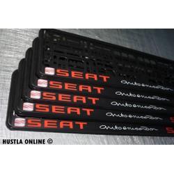 2 ramki z nadrukiem ``Seat - autoemotion`` czarne tło