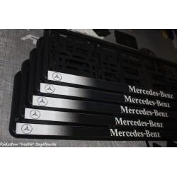 Ramki z nadrukiem Mercedes-Benz biało-czarne cieniowane tło