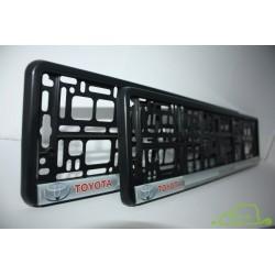 2 ramki z nadrukiem ``Toyota - moving forward - TRD`` szare tło