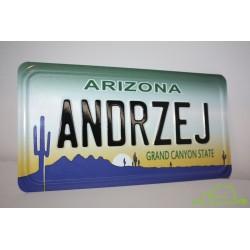 Tablica aluminiowa z Twoim napisem i zdjęciem/grafiką w tle - rozmiar USA, Polski samochodowy i motocyklowy